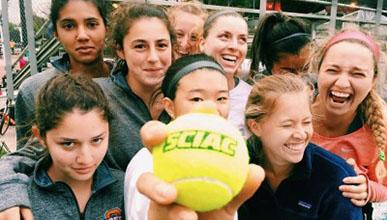 Students on the Oxy tennis team pose together