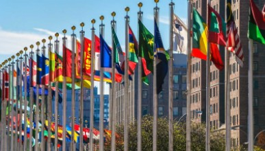 UN Headquarters in NYC, with int'l flags