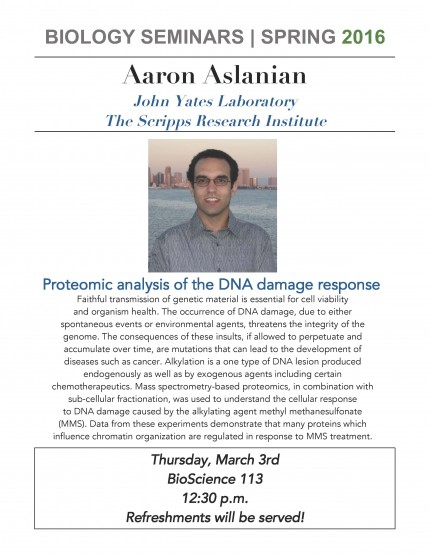 Image for Aaron Aslanian: Proteomic analysis of the DNA damage response
