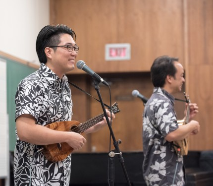 Jason Arimoto and Daniel Ho perform for students
