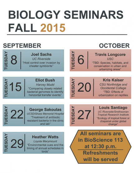 Image for The Biology Seminars Fall 2015 Schedule