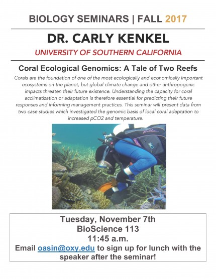 Image for Dr. Carly Kenkel - Coral Ecological Genomics: A Tale of Two Reefs