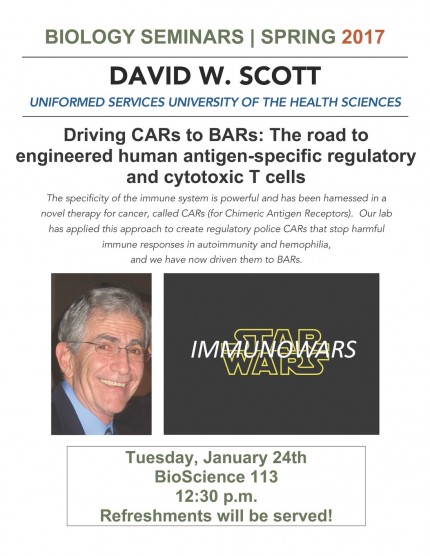 Image for David W. Scott - Driving CARs to BARs: The road to engineered human antigen-specific regulatory and cytotoxic T cells
