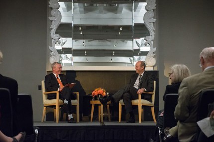 President Veitch with Ted Mitchell at a fireside chat in Washington, D.C.