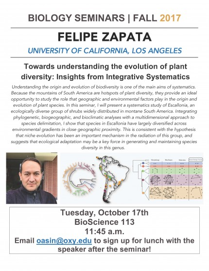 Image for Felipe Zapata - Towards understanding the evolution of plant diversity: Insights from Integrative Systematics