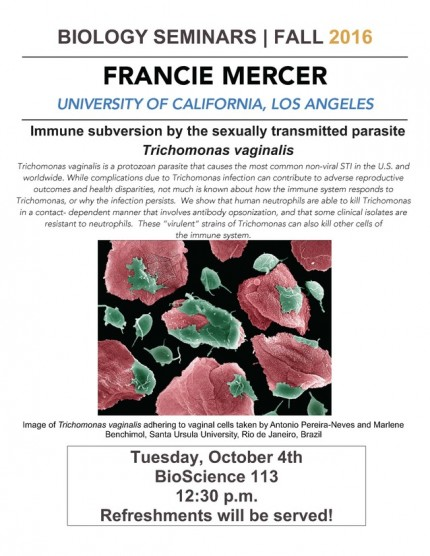 Image for Francie Mercer: Immune subversion by the sexually transmitted parasite Trichomonas vaginalis