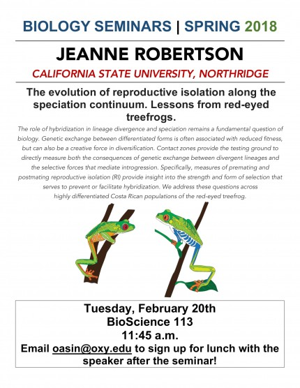 Image for Jeanne Robertson: The evolution of reproductive isolation along the speciation continuum. Lessons from red-eyed treefrogs.