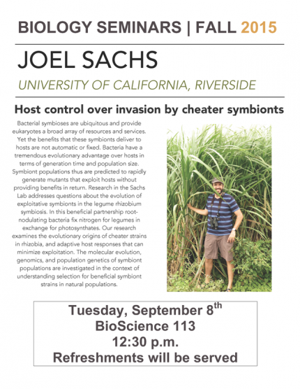 Image for Joel Sachs: Host control over invasion by cheater symbionts