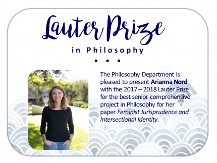 Flyer announcement of Lauter Prize winner for 2018