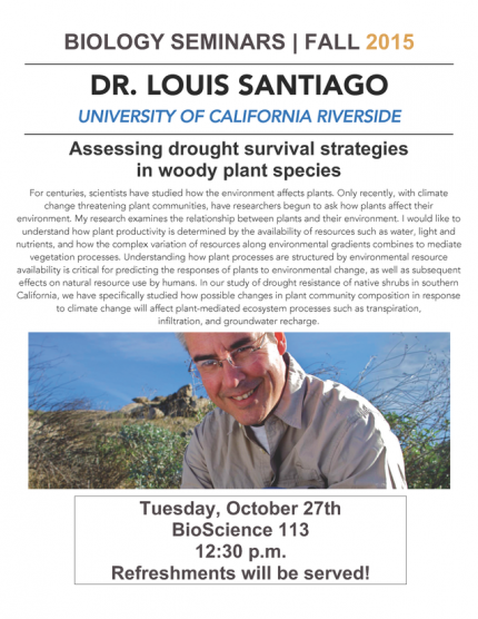 Image for Dr. Louis Santiago: Assessing drought survival strategies in woody plant species
