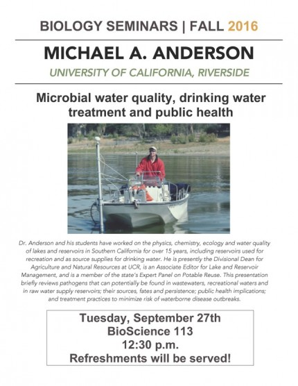 Image for Michael A. Anderson: Microbial water quality, drinking water treatment and public health