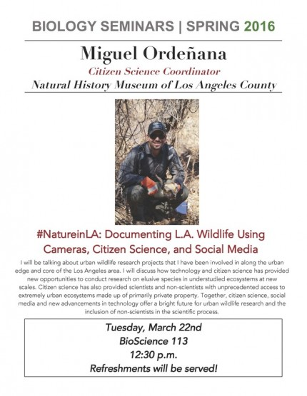 Image for Miguel Ordeñana: #NatureinLA: Documenting L.A. Wildlife Using Cameras, Citizen Science, and Social Media