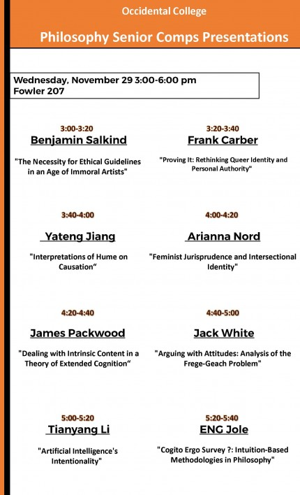 Philosophy Senior Comp Presentations