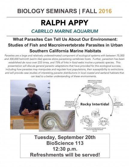 Image for Ralph Appy: What Parasites Can Tell Us About Our Environment: Studies of Fish and Macroinvertebrate Parasites in Urban Southern California Marine Habitats