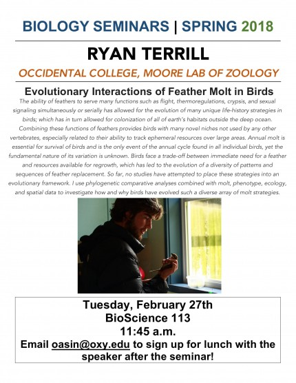 Image for Ryan Terrill: Evolutionary Interactions of Feather Molt in Birds