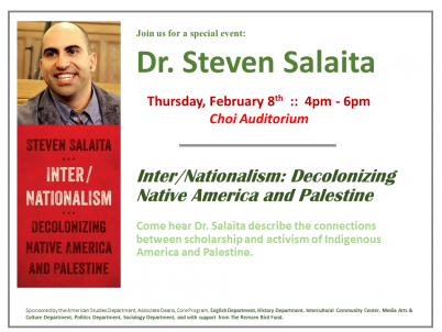 Image for Dr. Steven Salaita Guest Lecture Inter/Nationalism: Decolonizing Native America and Palestine