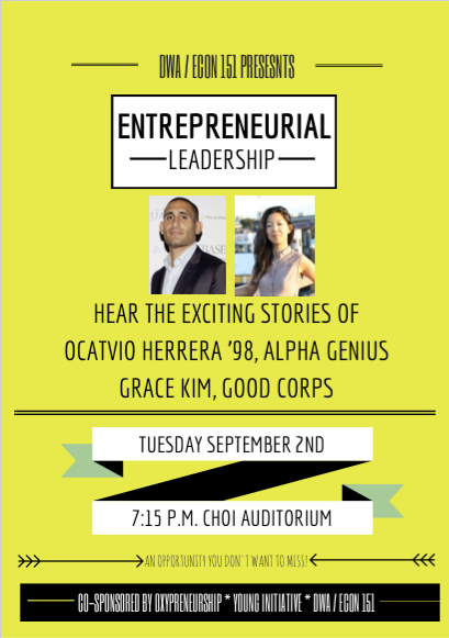 Image for Grace Kim and Octavio Herrera visit DWA 151:  Entrepreneurial Leadership