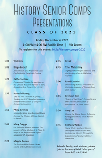 Event flyer for 2020 History Department senior comps presentations