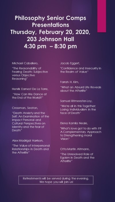 Event poster for Philosophy Senior Comps Presentation