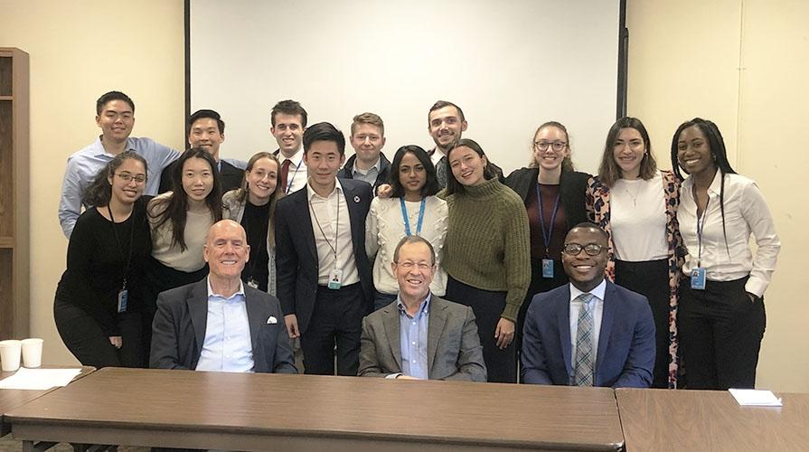 Oxy students and Bill Kahane in NY