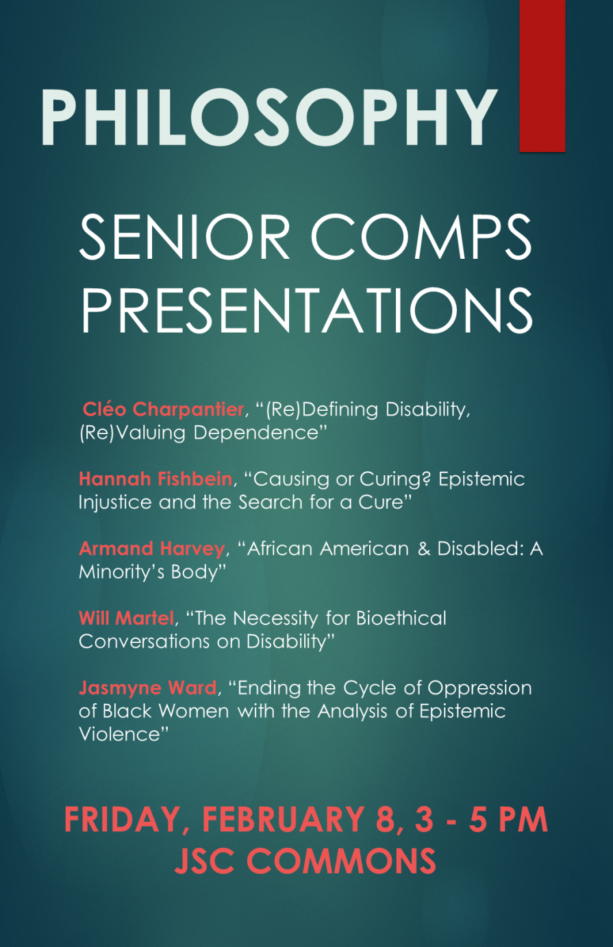 Senior Comps poster with list of students presenting