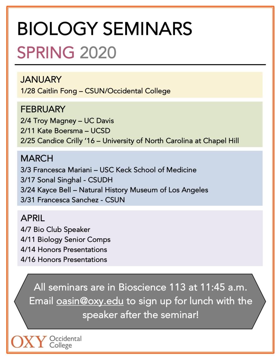Spring 2020 seminar schedule