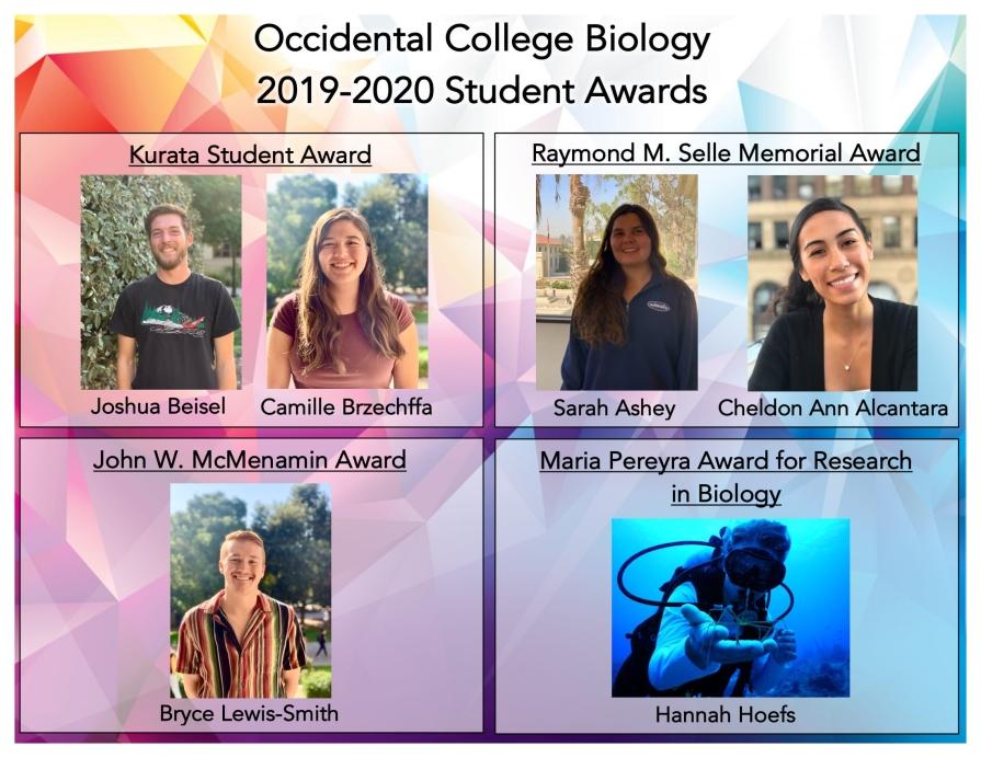 Biology student award winners: Joshua Beisel, Camille Brzechffa, Sarah Ashey, Cheldon Ann Alcantara, Bryce Lewis-Smith, Hannah Hoefs