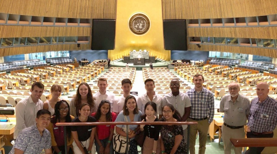 students at the UN building