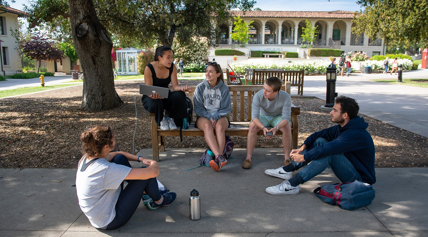 Students talking together on the Quad