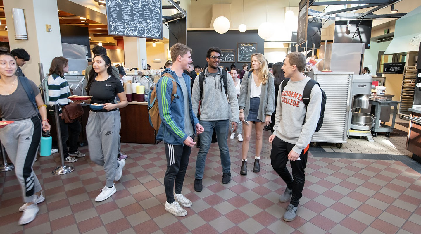 Students in Oxy's Marketplace dining hall