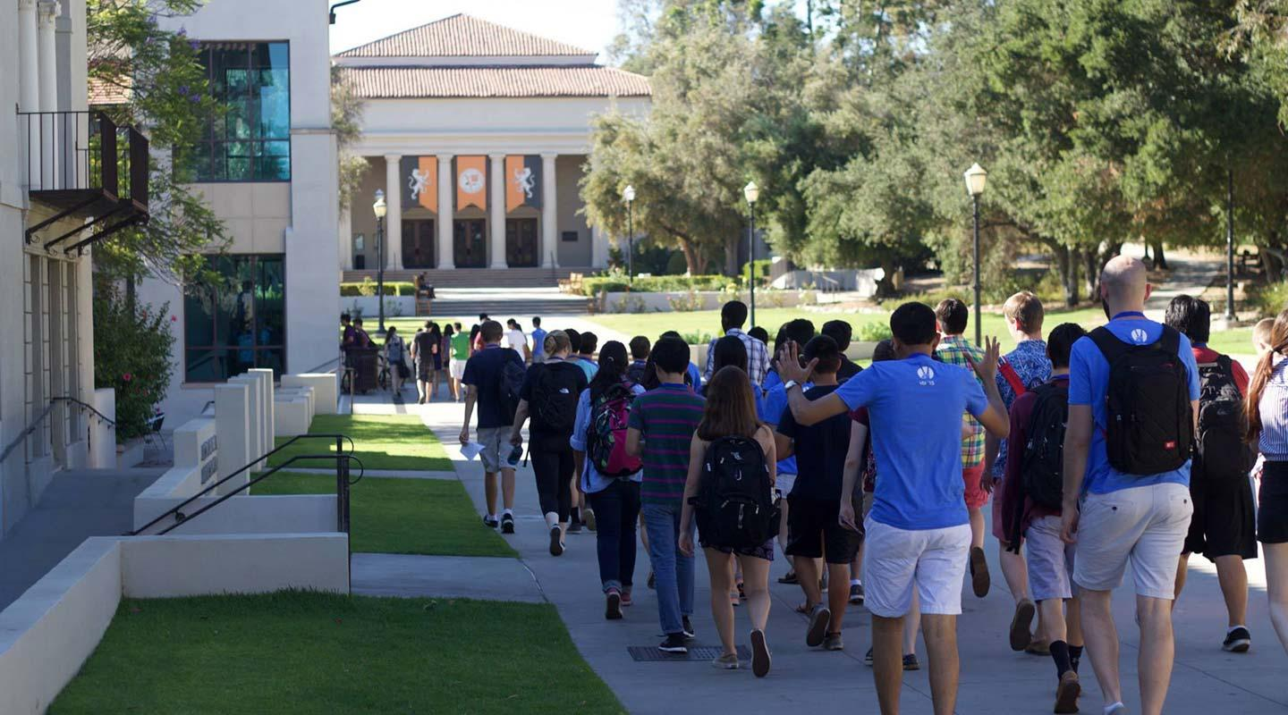 A group of students on campus for a summer program at Oxy