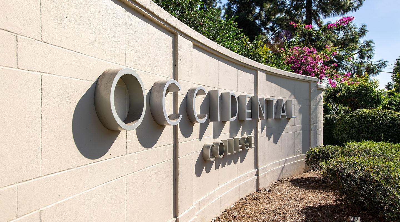 Occidental's front entrance sign