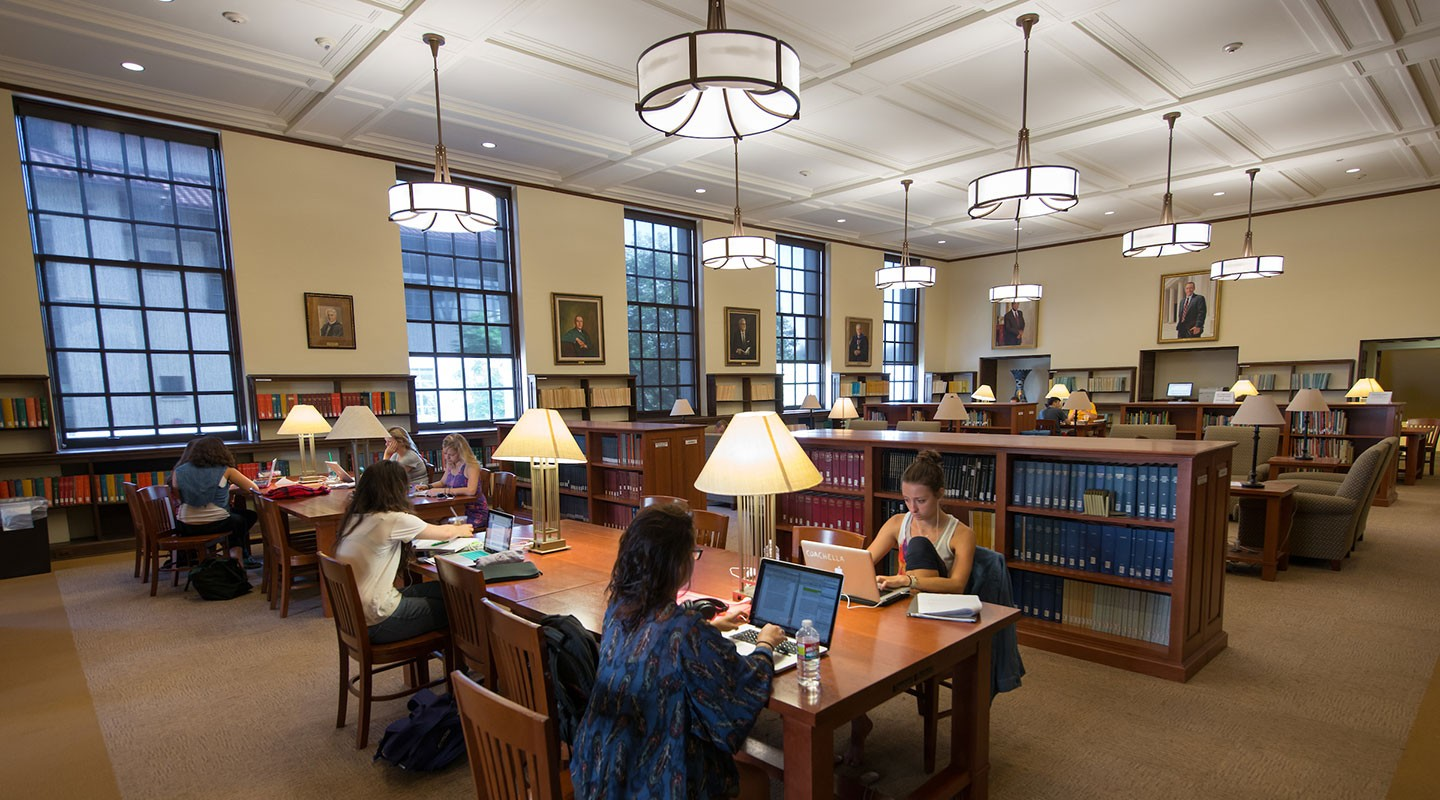 Students study in the Academic Commons
