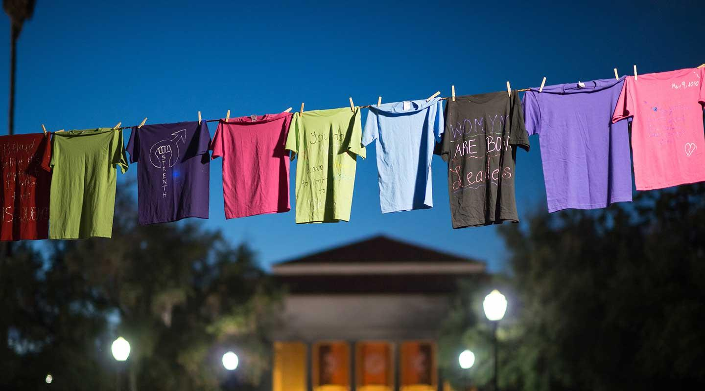 Tshirts belonging to survivors on clotheslines