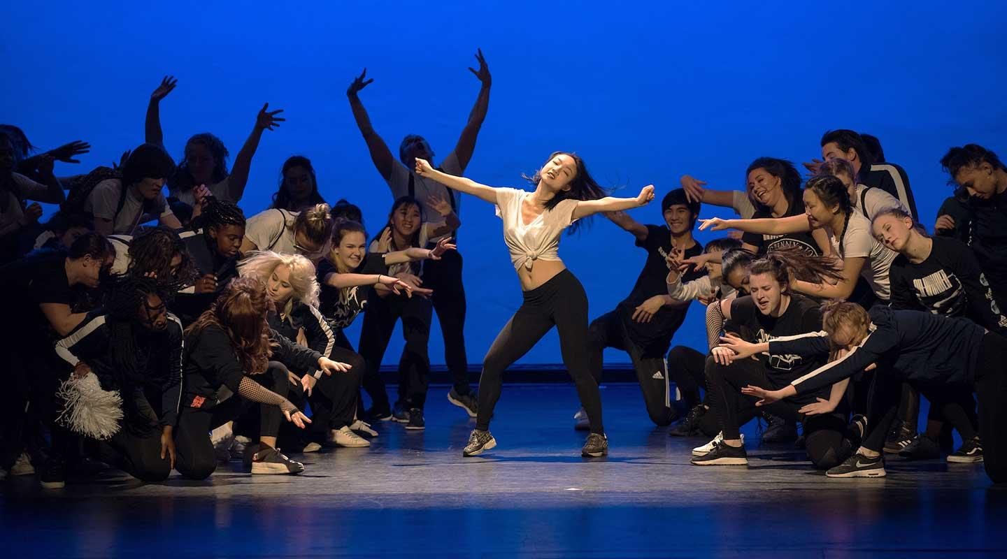 Oxy students performing in Dance Production