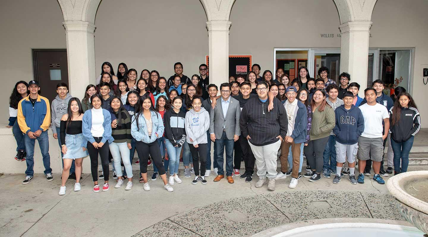 Staff and students from Oxy's Upward Bound program