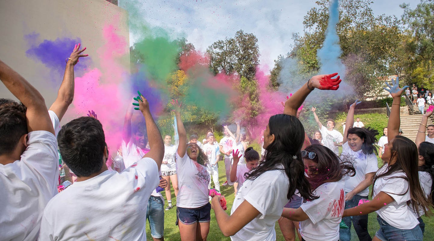 Students at the annual Holi Festival
