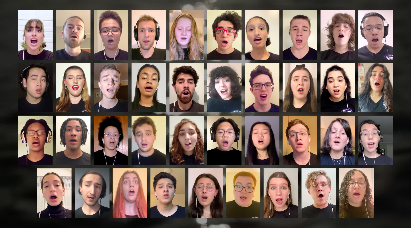 37 members of the Glee Club singing remotely