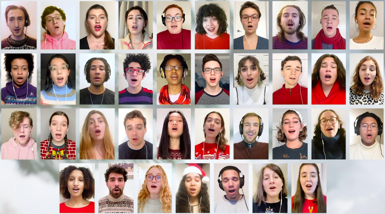 A screen shot of 37 Glee Club members singing