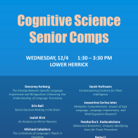 Event poster for Cognitive Science senior comps presentations