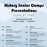 Event poster for History department senior comps presentations