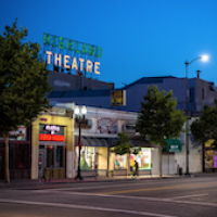 Highland Park Theater at night