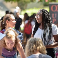 Students talk at Oxy's Involvement Fair