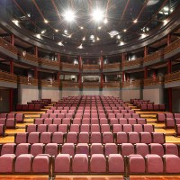 The interior of Keck Theater on Oxy's campus