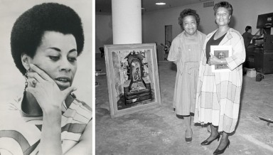 Mary Jane Hewitt at Oxy (1974) and with Museum of African American Art in Los Angeles founder Samella Lewis (1984)