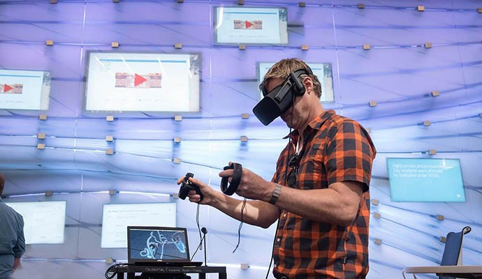 A person using VR technology