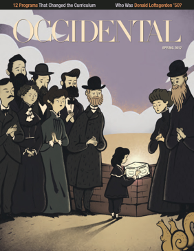 An illustration of people in old fashioned, conservative garb. Cover story: In the Beginning