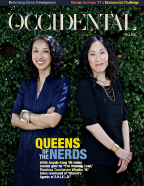 Two women stand smiling. Cover story: Queens of the Nerds