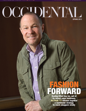 A man in a purple shirt and green jacket. Cover story: Fashion Forward