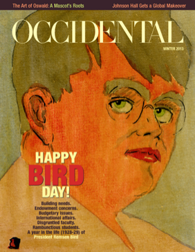 An illustrated portrait. Cover story: Happy Bird Day!